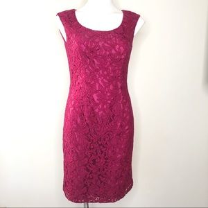 Adrianna Papell Lace Sheath Dress Size 6 Red Lace